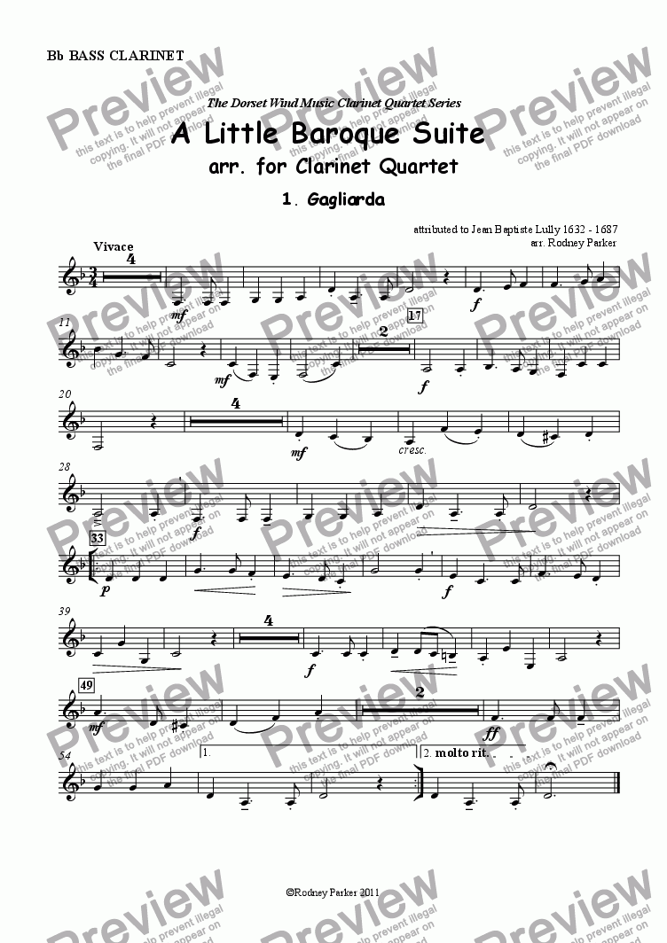 page one of the Bass Clarinet part from A Lttle Baroque Suite arr. for Clarinet Quartet
