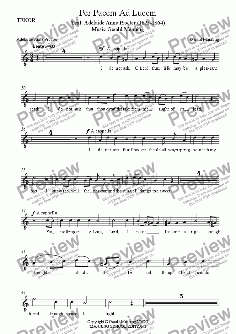 page one of the Tenor part from Anthems For All Occasions - Per Pacem Ad Lucem - For Parish Choir & Organ by Gerald Manning