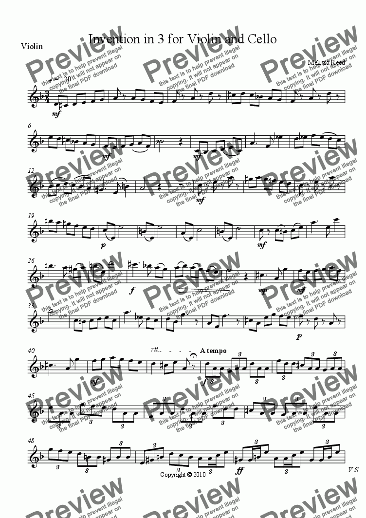 page one of the Violin part from Invention in Three for Violin and Cello