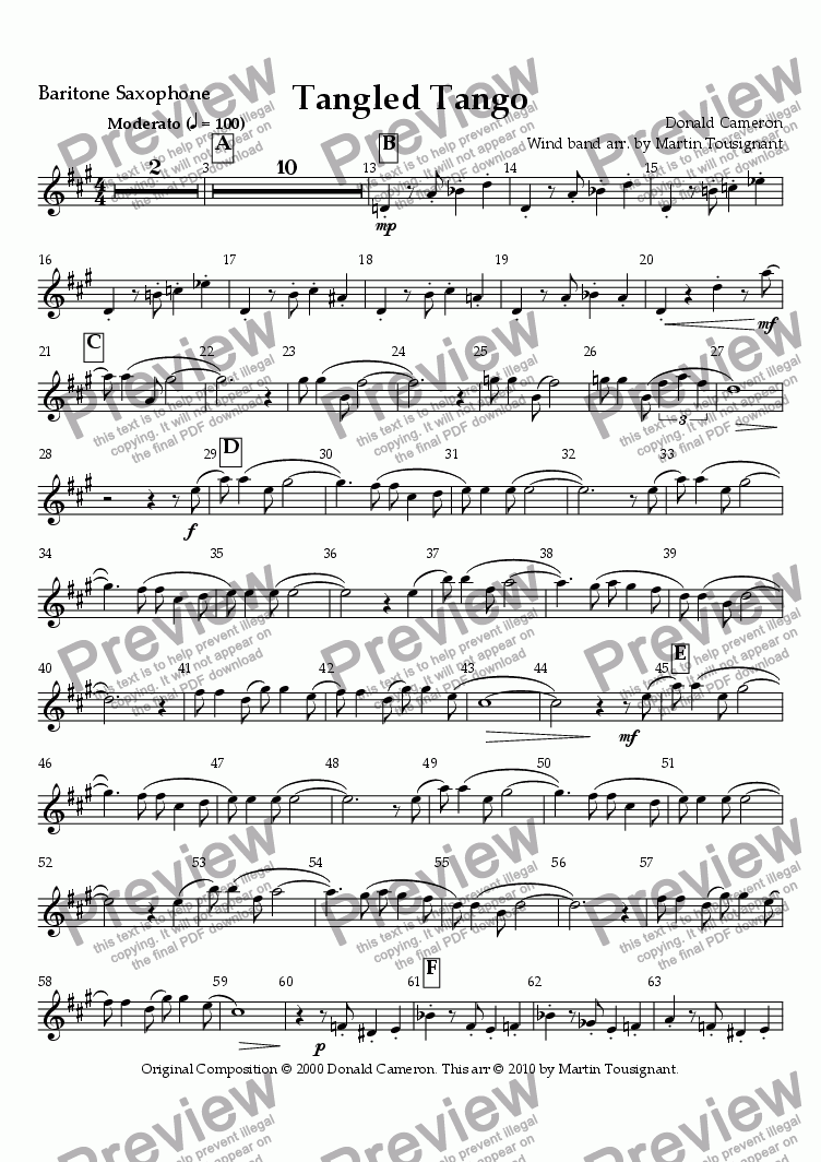 page one of the Bari sax part from Tangled Tango Wind