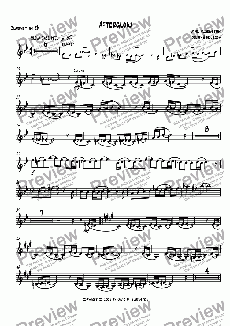 page one of the clarinet part from Afterglow