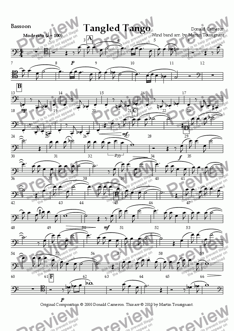 page one of the Bassoon part from Tangled Tango Wind