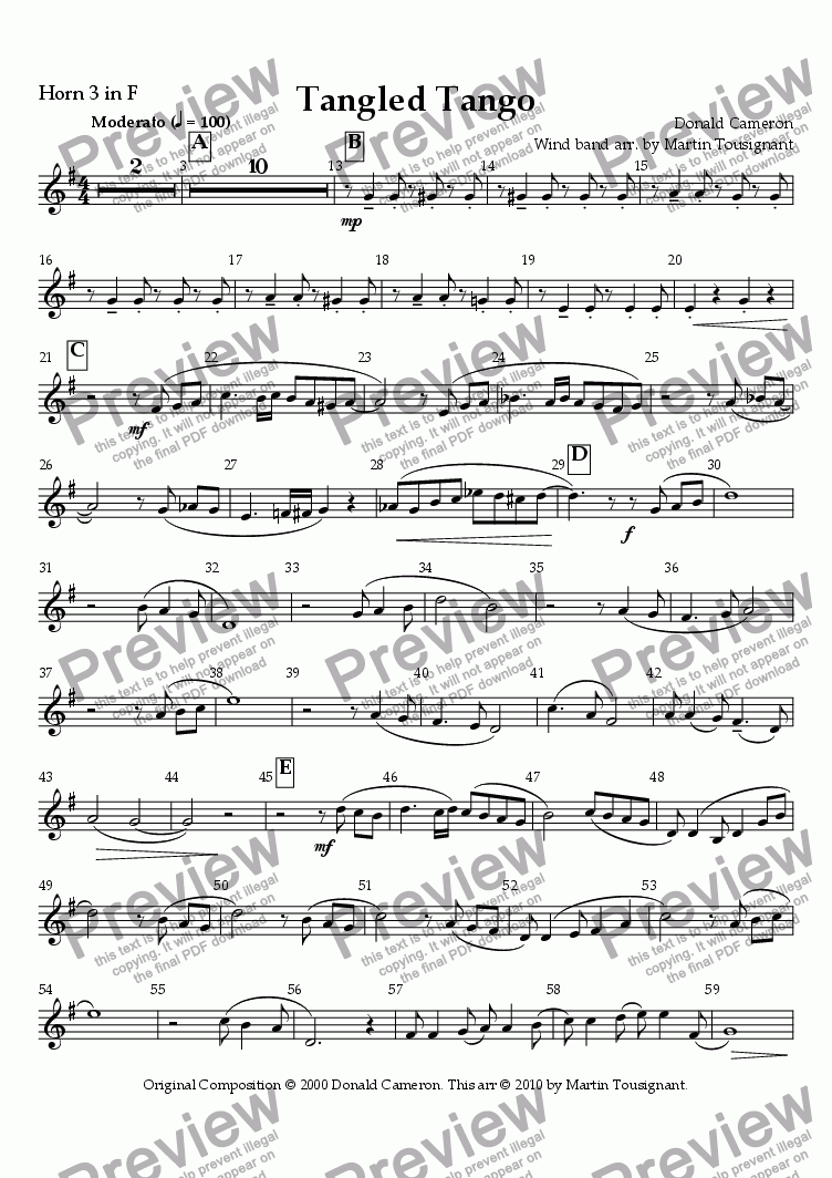 page one of the Horn 3 F part from Tangled Tango Wind