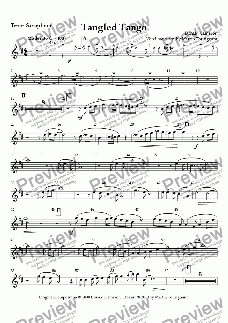 page one of the Tenor Sax Bb part from Tangled Tango Wind