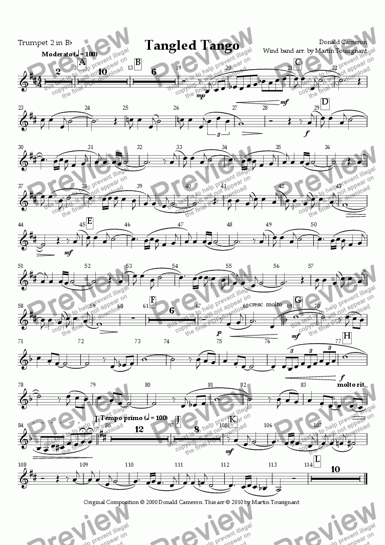 page one of the Trumpet 2 Bb part from Tangled Tango Wind