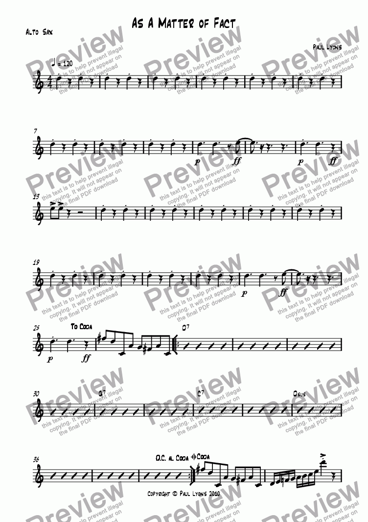 page one of the Alto Sax part from As a Matter of Fact