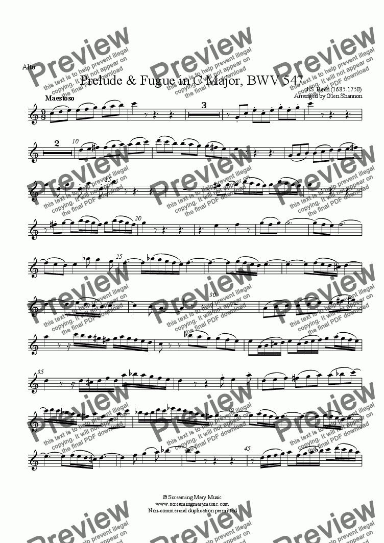 page one of the Alto part from Bach Organ Prelude BWV547 Arr. for Recorder Orchestra