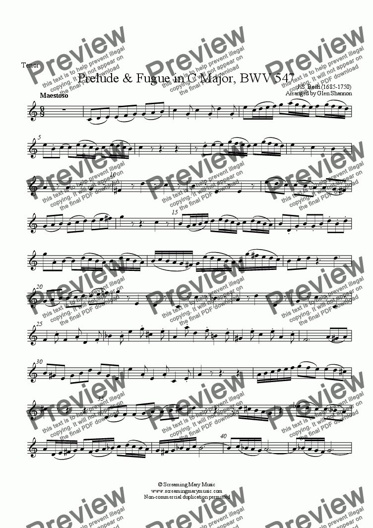 page one of the Tenor part from Bach Organ Prelude BWV547 Arr. for Recorder Orchestra