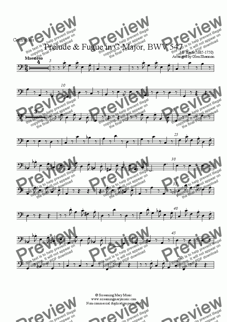 page one of the Contrabass part from Bach Organ Prelude BWV547 Arr. for Recorder Orchestra