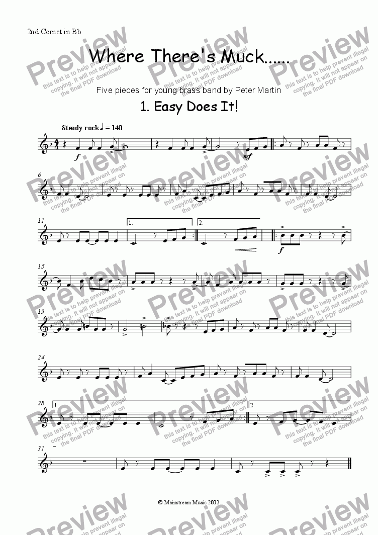 page one of the Cornet II in Bb part from Where There's Muck .......