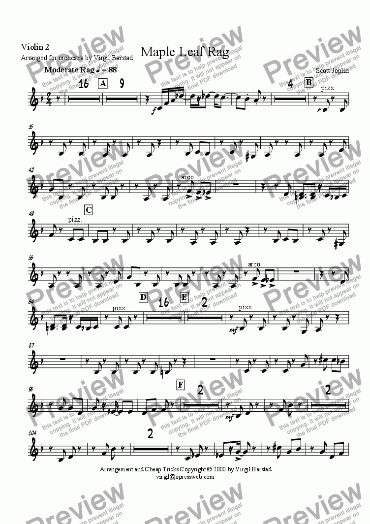 page one of the Violin 2 part from Maple Leaf Rag