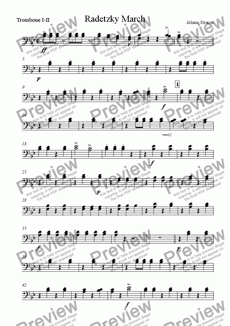 page one of the trombones part from Radetzky March