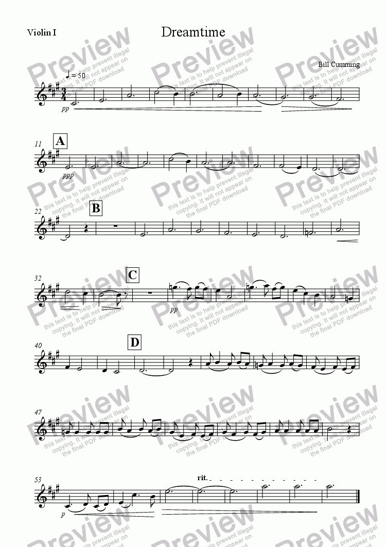 page one of the Violin 1 part from Dreamtime