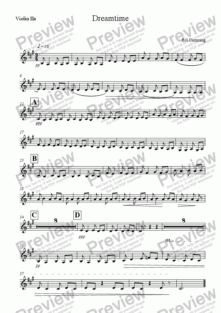 page one of the Violin 2a part from Dreamtime
