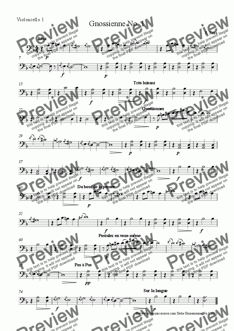 page one of the Cello 1 part from Satie Gnossienne No. 1 for Cello Quartet