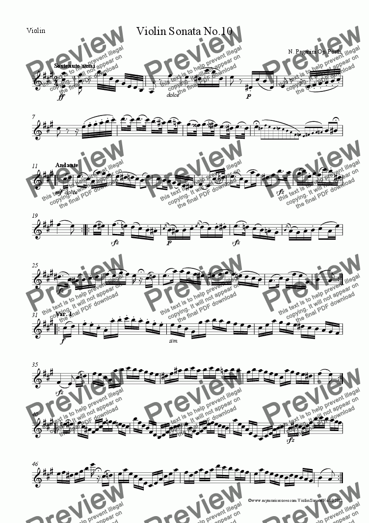 page one of the Violin part from Paganini Violin Sonata No.10 Op. Posth for Violin and Piano