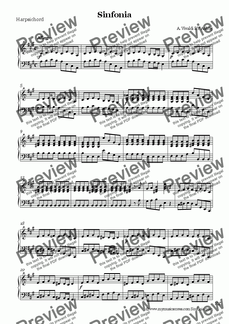 page one of the Harpsichord part from Vivaldi Sinfonia RV Anh85 for String Orchestra