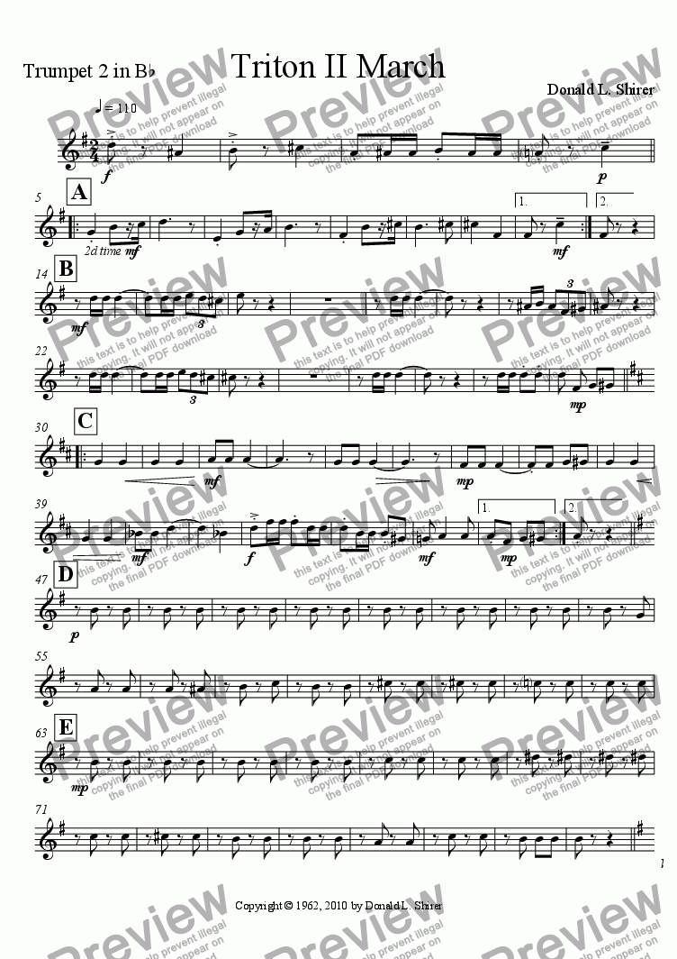 page one of the Trumpet 2 part from Triton II March