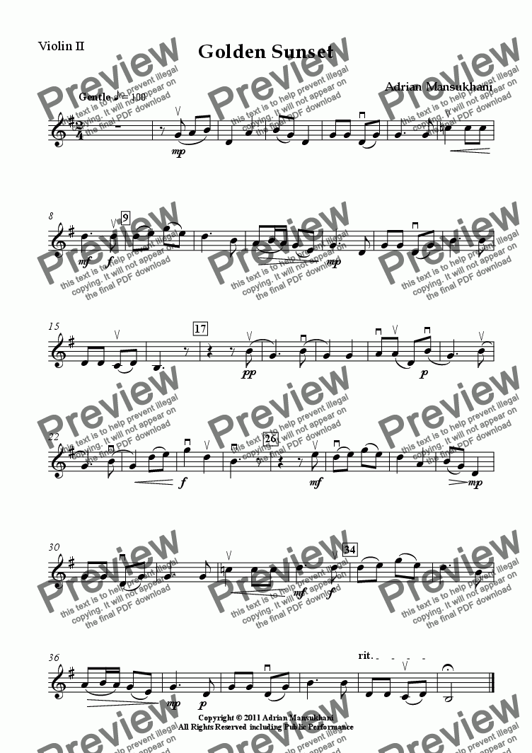 page one of the Violin II part from Golden Sunset, a Chinese melody for young string ensemble