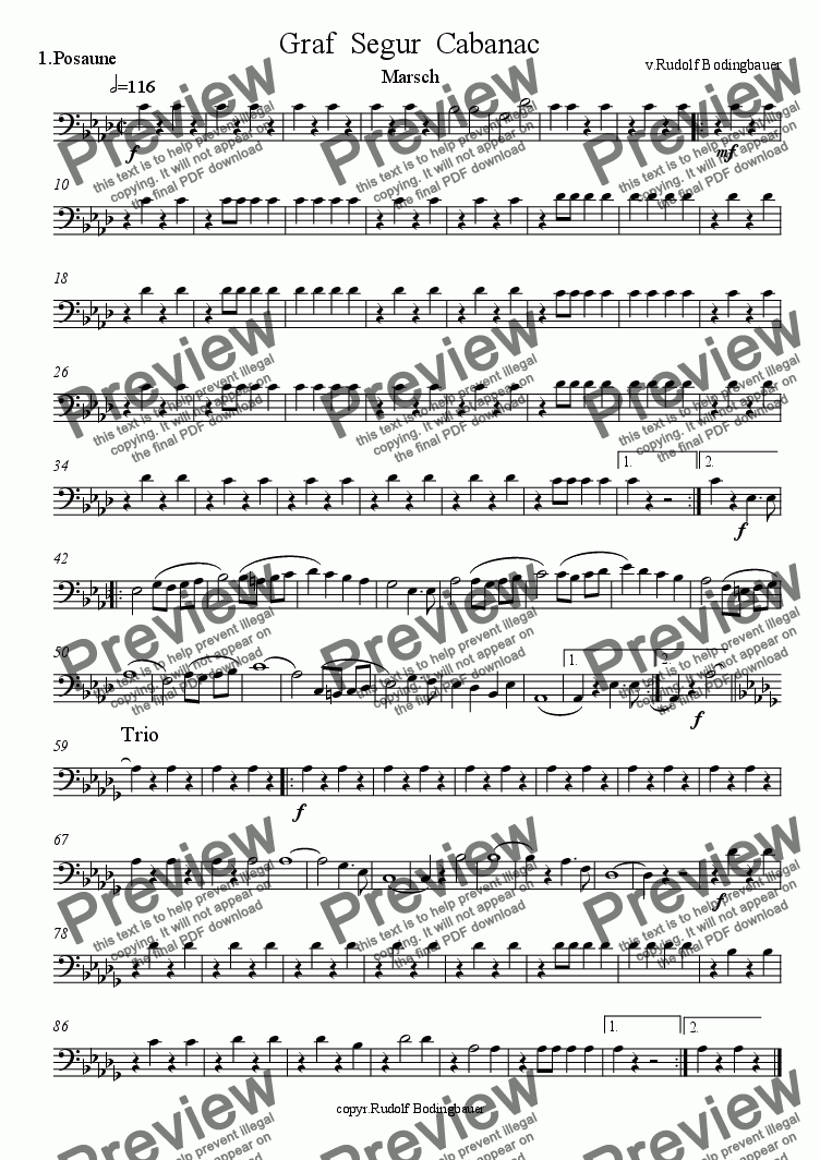 page one of the 1.Posaune in C part from Graf Segur Cabanac Marsch