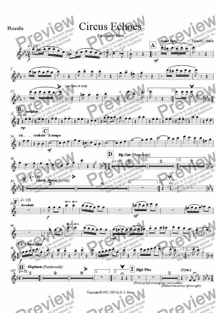page one of the Piccolo part from Circus Echoes