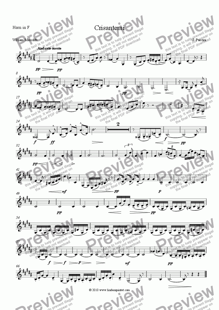 page one of the Horn part from Puccini - Crisantemi (Chrysanthemums), Elegy