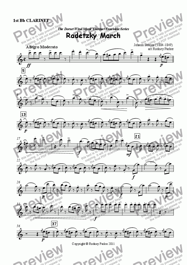 page one of the 1st Clarinet part from Radetzky March arr. for Clarinet Ensemble