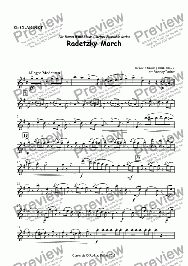 page one of the Eb Clarinet part from Radetzky March arr. for Clarinet Ensemble
