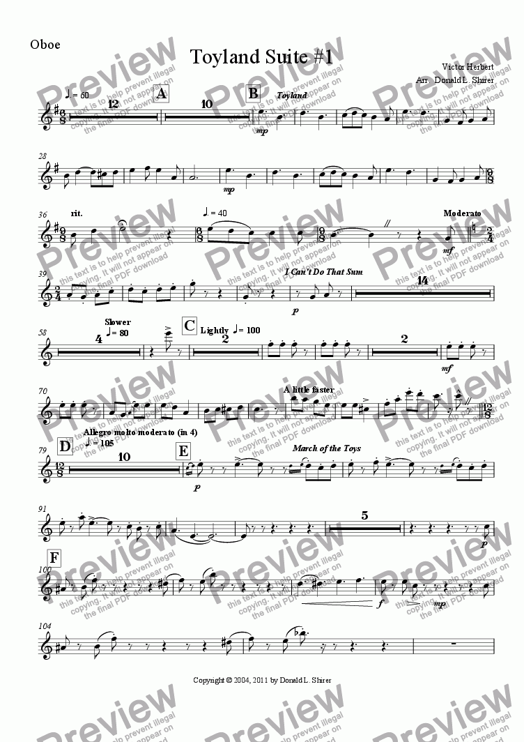 page one of the Oboe part from Toyland Suite #1