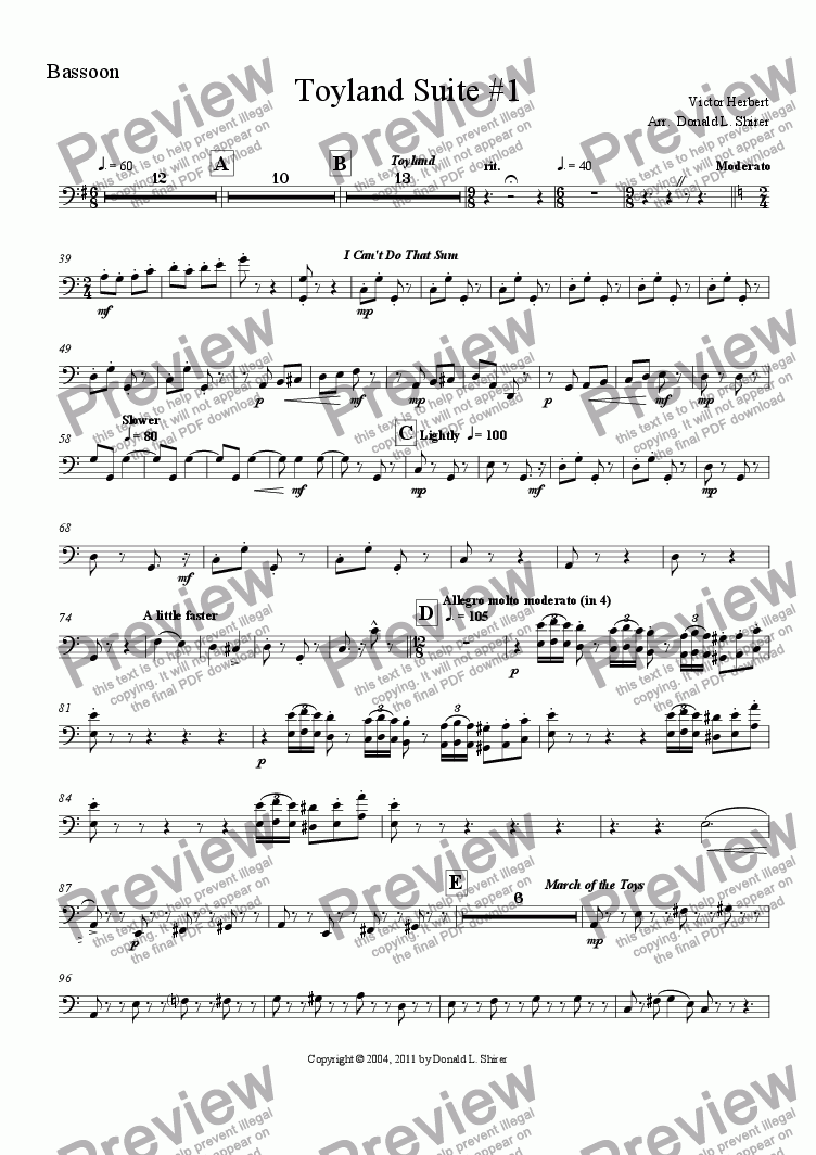 page one of the Bassoon part from Toyland Suite #1