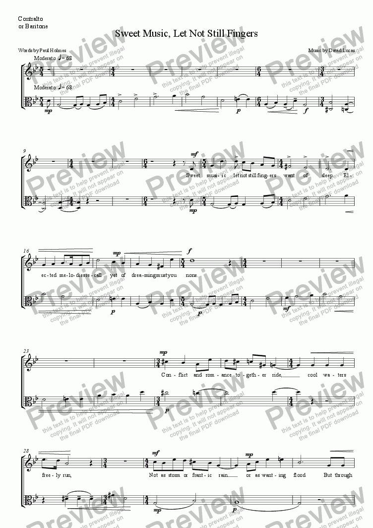 page one of the voice part from Sweet Music, Let Not Still Fingers