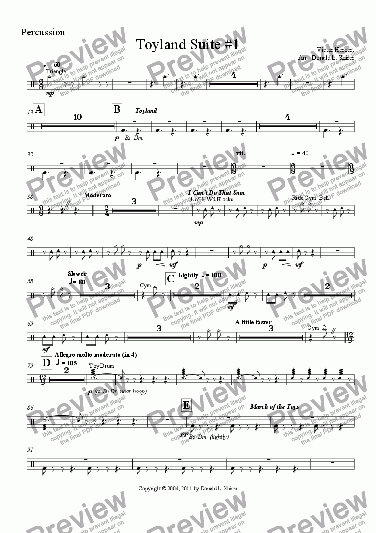 page one of the Percussion part from Toyland Suite #1