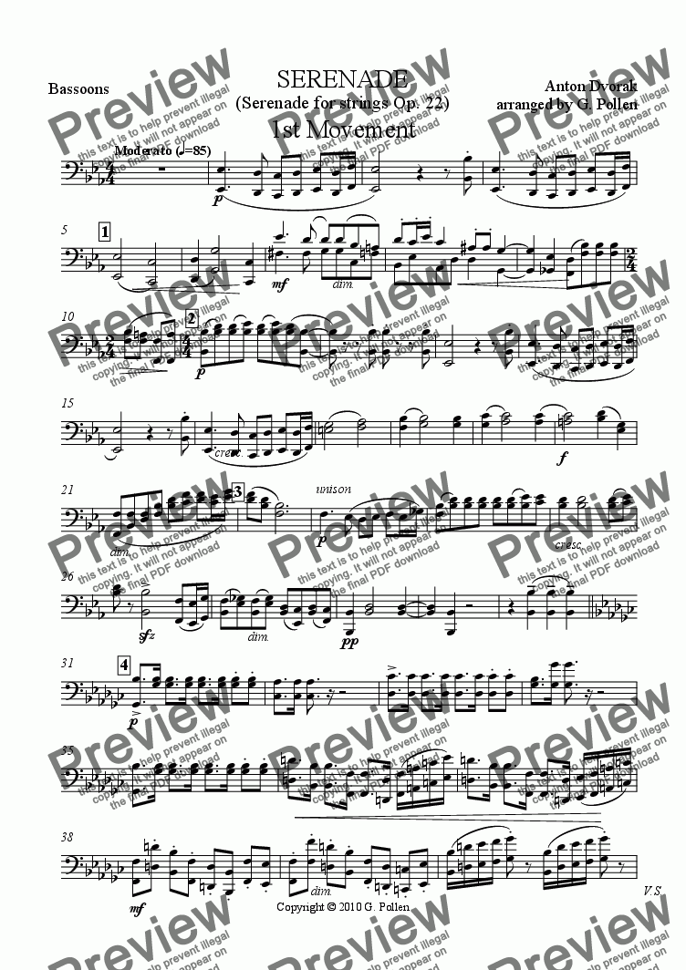 page one of the Bassoons part from Serenade Op. 22 for Concert Wind Band