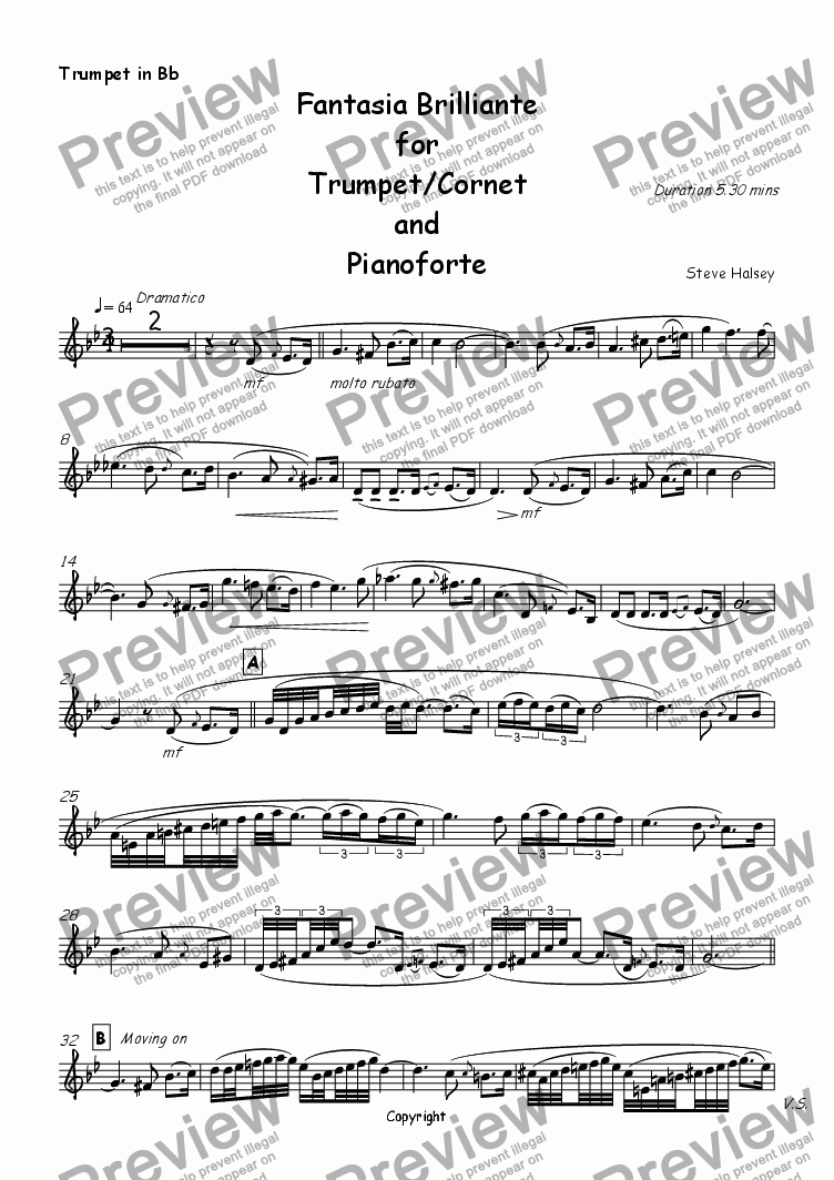 page one of the Solo Trumpet/Cornet part from Fantasia Brilliante for Trumpet/Cornet and Piano
