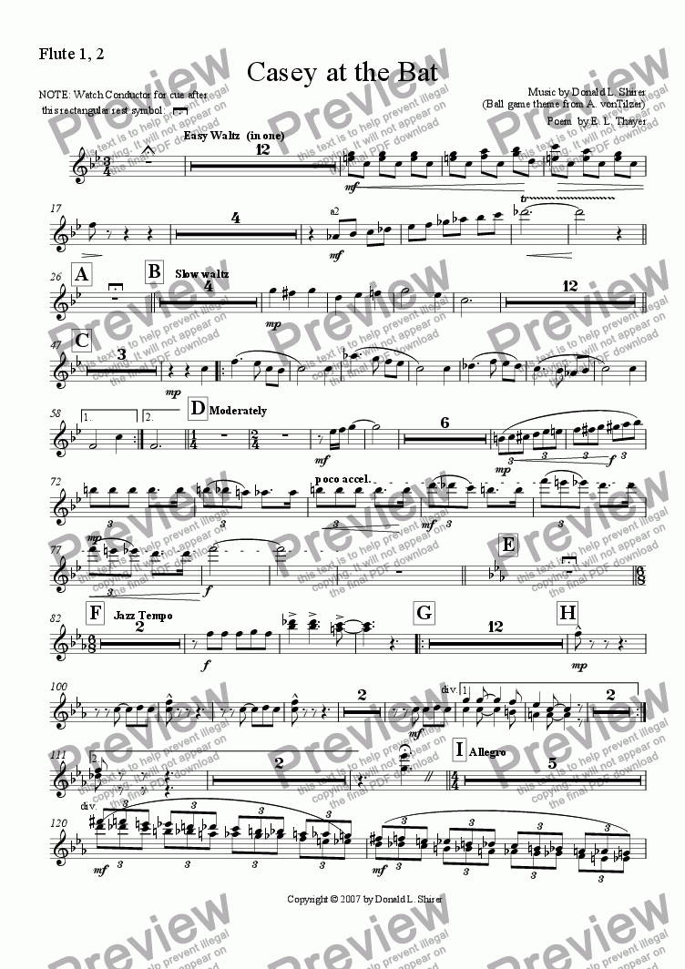 page one of the Flute 1,2 part from Casey at the Bat