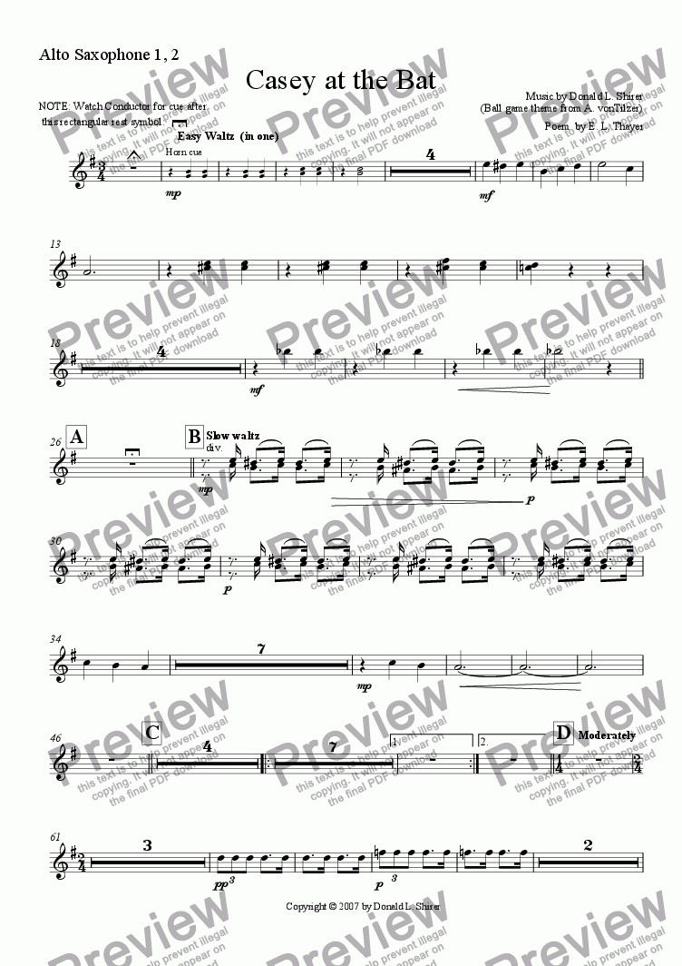 page one of the Alto Sax 1,2 part from Casey at the Bat