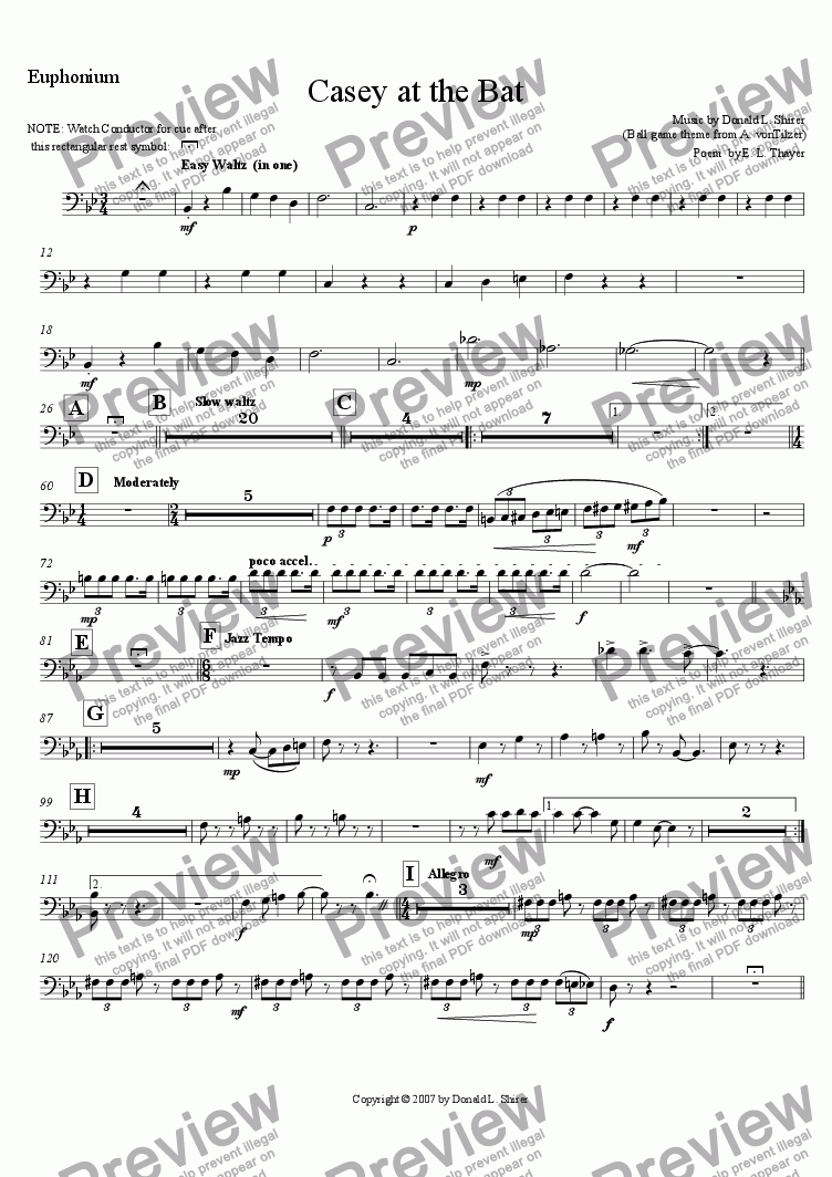 page one of the Euphonium part from Casey at the Bat