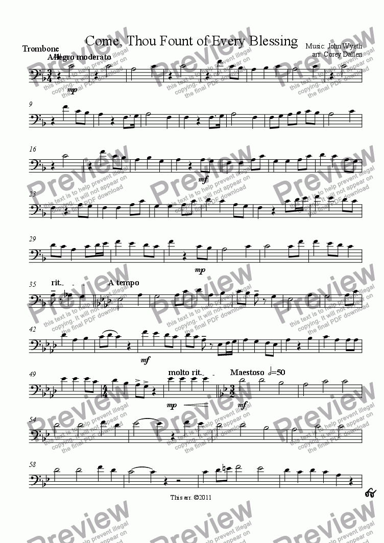 page one of the Trombone part from Come, Thou Fount (arr. for brass)