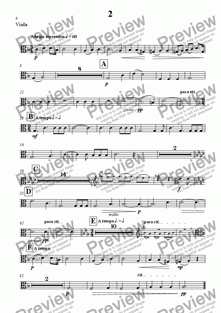 page one of the Viola part from A Summer Symphony - Movt 2