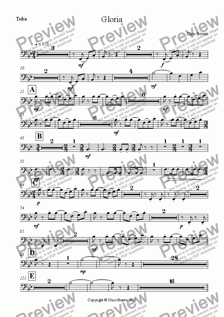 page one of the Tuba part from Gloria for choir, brass quintet and organ