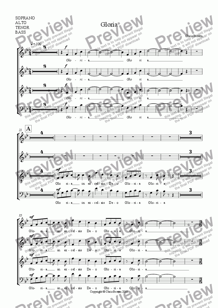 page one of the Choir part from Gloria for choir, brass quintet and organ