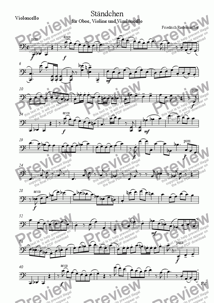 page one of the Violoncello part from Ständchen
