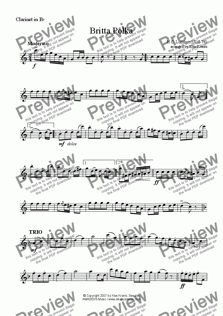 page one of the clarinet in Bb part from Britta Polka for clarinet in Bb and guitar