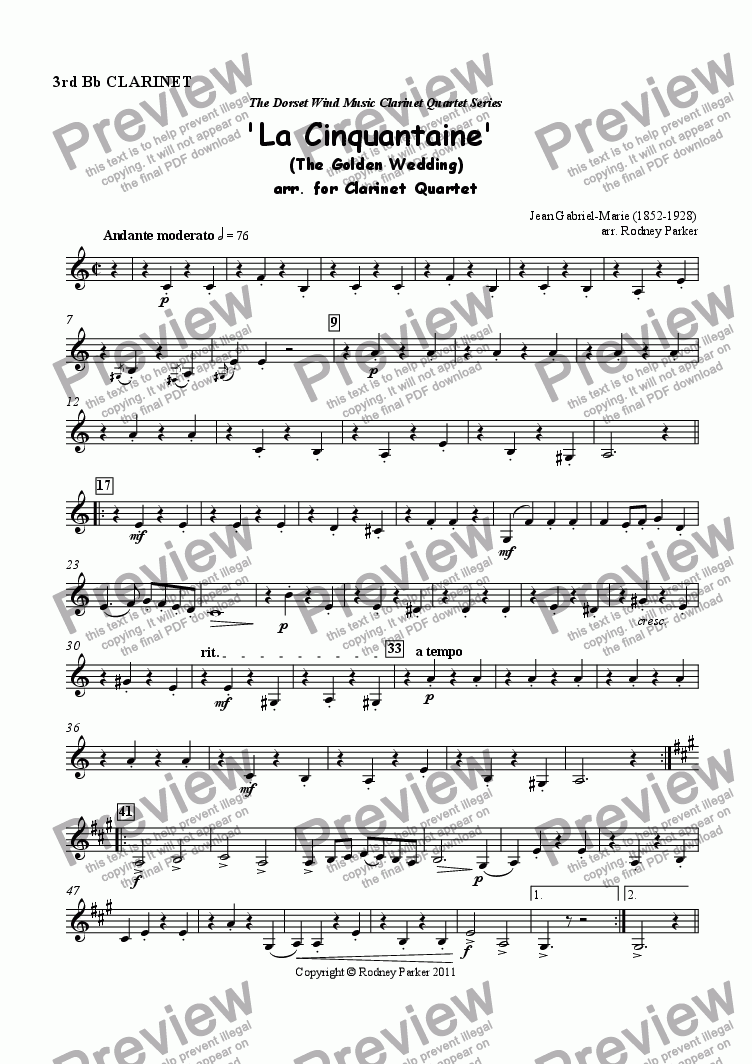 page one of the 3rd Clarinet part from 'La Cinquantaine' arr. for Clarinet Quartet