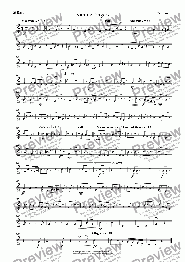 page one of the Eb bass accomp part from Nimble Fingers