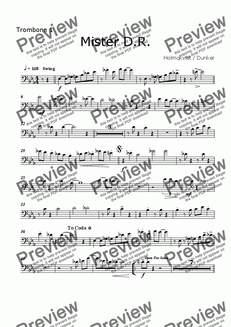 page one of the Trombone 1 part from Mister D.R. (BigBand)