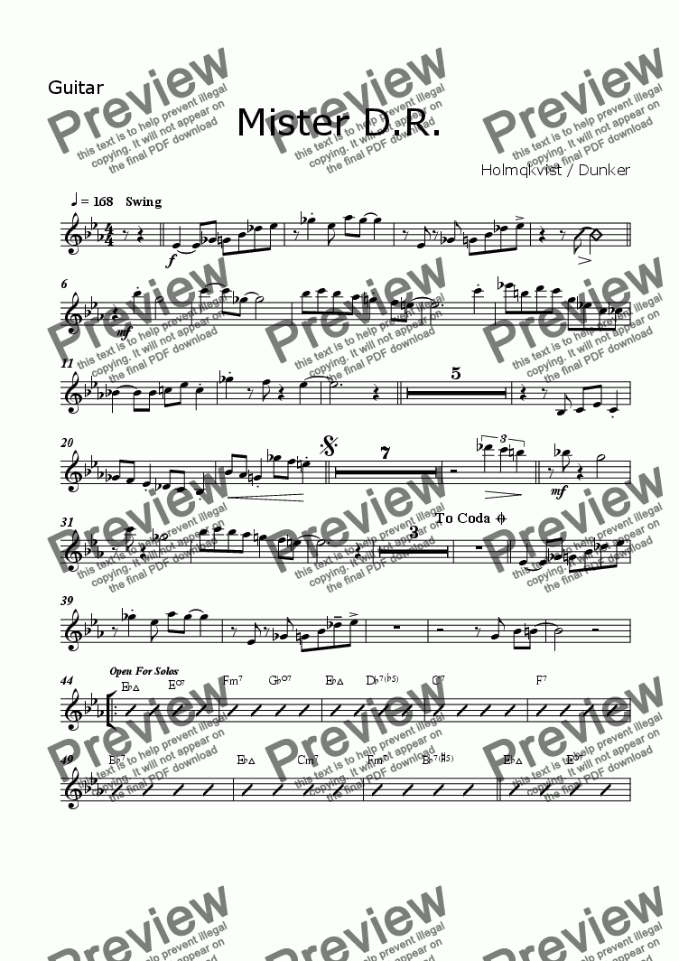 page one of the Guitar part from Mister D.R. (BigBand)