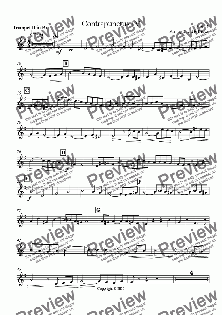 page one of the Trumpet II in Bb part from Contrapunctus IV from the Art of Fugue