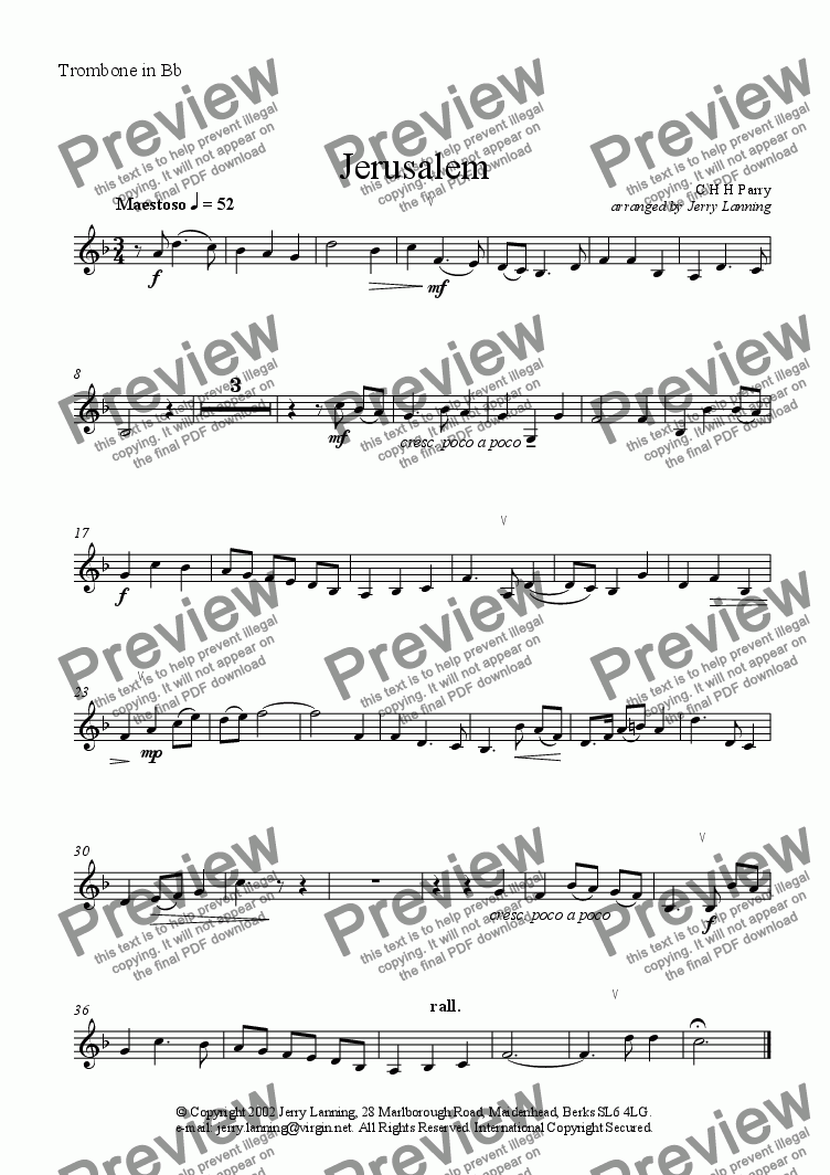 page one of the Trombone in Bb part from Jerusalem (brass quintet) + mp3 file