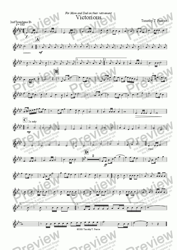page one of the 2nd Trombone part from Victorious  (Brass Band)